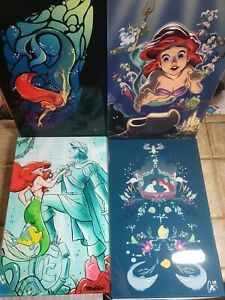 SIGNED-D23-Expo2019-The-Little-Mermaid-Acrylic-Art-Set-of-4-LE-See-description