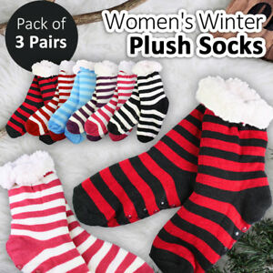 3Pair Winter Soft Plush Super Thick Warm Socks Non-slip Home Bed Slipper Lounge
