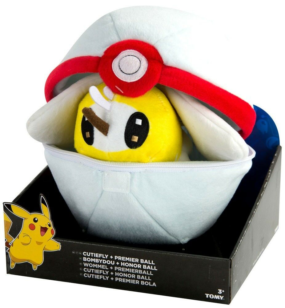 Pokemon Cutiefly & Premier Ball Zipper Poke Ball 8-Inch Plush