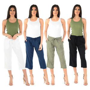 Womens Ladies 3//4 Cropped Linen Trousers Pants Short Summer Relaxed Fit Casual