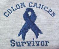 Colon Cancer Blue Ribbon Xl Survivor Gray Crew Neck Sweatshirt Unisex