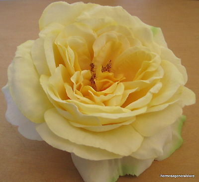 "Large 5 1/2"" Yellow Rose Silk Flower Hair Clip, Wedding, Prom, Dance, Bridal"