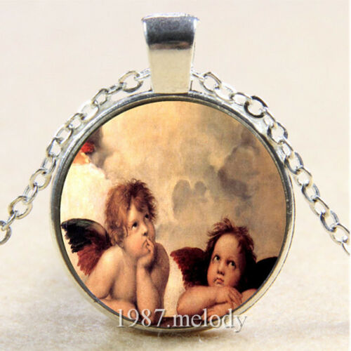 Photo Cabochon Glass Silver popular Chain Pendants Necklace(Angel child)