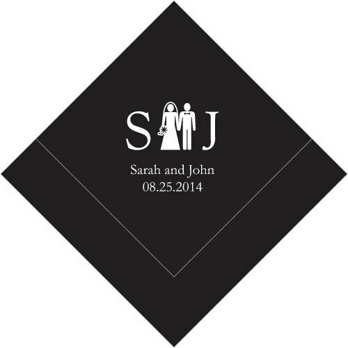500 Monogram Couple Printed Wedding Luncheon Napkins