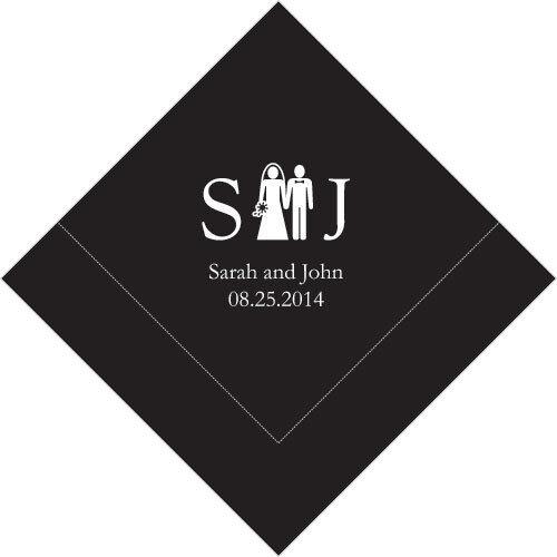500 Monogram Couple Printed Wedding Cocktail Napkins