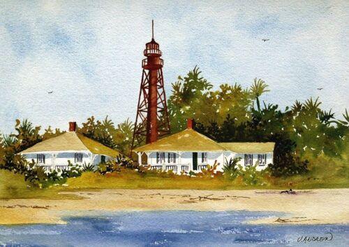 Jean Andrew Watercolor Art Prints Sanibel Island Lighthouse Landscape Florida
