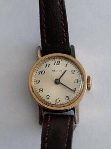 Montre mecanique ancienne femme Kelton boîtier plaqué or bracelet cuir