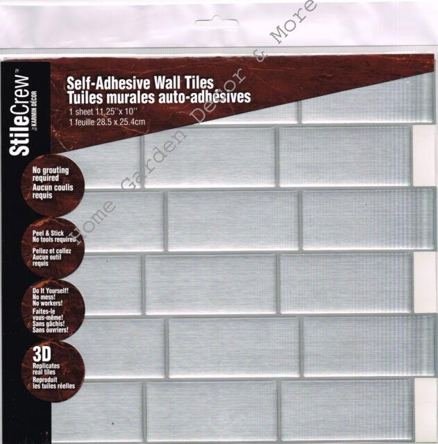 L Stick Wall Tile Kitchen Bathroom Backsplash Sticker Sheet Gray Subway Brick