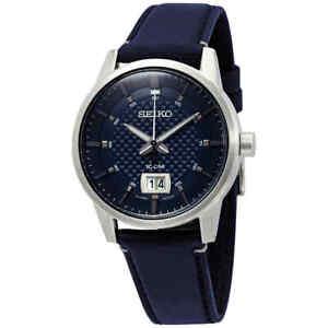 Seiko Quartz Blue Dial Blue Leather Men's Watch SUR287