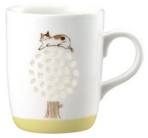 Japan Beautiful Cat And Flower Porcelain Mug Ceramic Cup Neko Coffee Mug A 02730