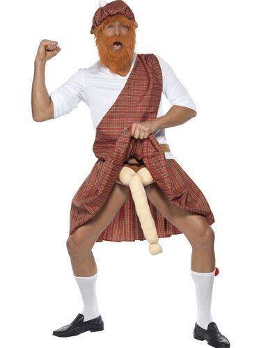 Mens scozzese ben appesi HIGHLANDER Stag Do Maleducato Divertente Costume Vestito
