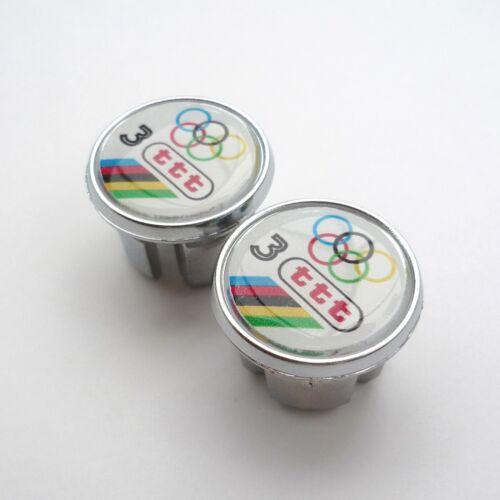 3ttt Repro Vintage Style Chrome Racing Bar Plugs 80s Caps 70s