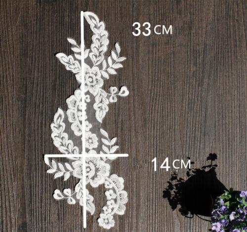 Vestido de novia Bordado de Apliques de Encaje Floral Boda accesorios de bricolaje Motif 1 Par