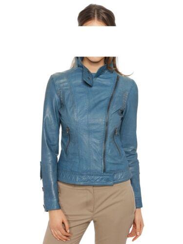 Nouveau Blue 42 Brooke Veste Gr Ashley Studded En Jacket Leather Cuir With dq6UF7C