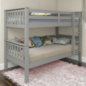 Novaro PINEWOOD Grey Bunk Bed Two Sleeper Quality Solid Pine Wood BUNK BED