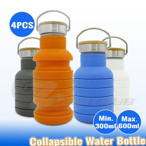 4x Collapsible Sport Office Drink Water Bottle Cycling Camping Gym Yoga Kettle