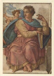 Michelangelo-PROPHET-ISAIAH-Sistine-Chapel-Ceiling-1950-vintage-art-print