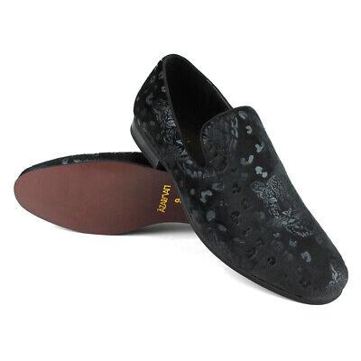 Men's Slip On All Black Velvet Leopard