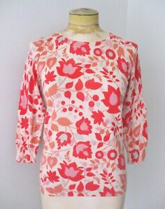 Boden red purple mod floral light wool cotton cardigan sweater back buttons US 4