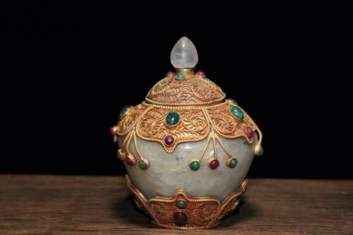 Chinese Antique Tibet pure copper gold-plated crystal inlaid gem Relic pagoda