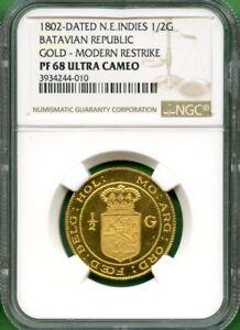 INDONESIA-1802-MODERN-RESTRIKE-GOLD-NGC-PF-68-ULTRA-CAMEO