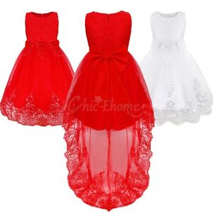 Flower Girls Dress Tail Wedding Bridesmaid Pageant Party Dress Communion Gown