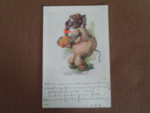 1907 COMIC POSTCARD DRESSED ELEPHANT UNIFORM FOOTBALL PLAYER ARTIST SIGNED