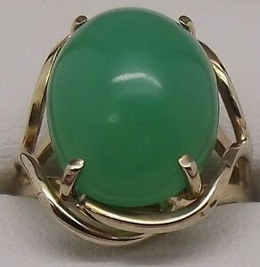 SOLID-9CT-YELLOW-GOLD-CHRYSOPRASE-GEMSTONE-DRESS-RING-VALUE-1721