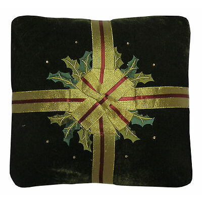 Velvet & Ribbon Holly Christmas Xmas Decorative Filled Cushion - 3 Colours