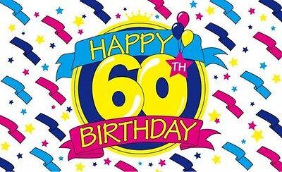 "Happy Birthday Flag 5 x 3/"" Cake Party Celebration 18th 21st 40th 50th 60th"