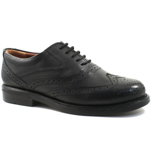 MENS SCIMITAR LEATHER BROGUE SHOES SIZE UK 6-14 OXFORD BLACK OR BROWN M963 KD