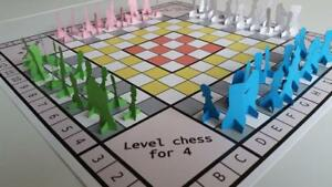 Level chess for 4 players, colored board with 48 paper pieces.