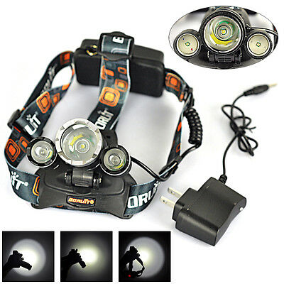 8500Lm XML T6+2R5 LED Rechargeable Headlamp Head Light 18650 Torch+AC Charger