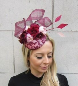 Burgundy Wine Red Blush Light Pink Flower Feather Hat Fascinator ... 227df10e4f9