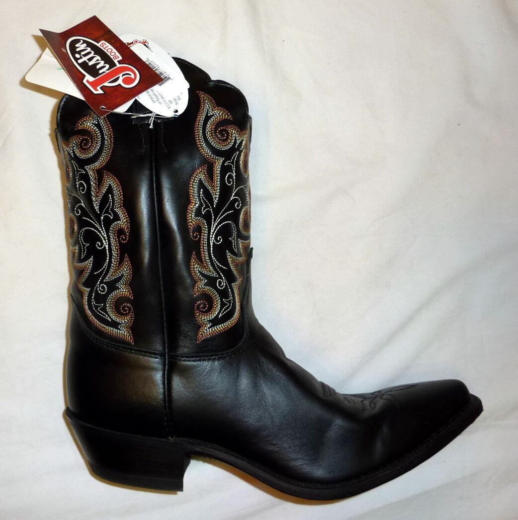 Justin L4923 Sz 9.5C Damenschuhe Classics Western Cowgirl Leder Stiefel BLACK CHESTER
