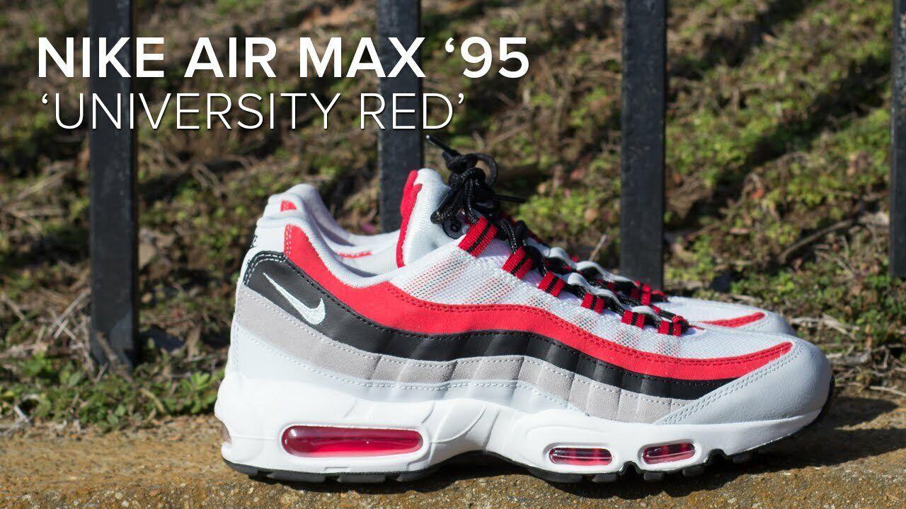 nike air max 95 classico classico classico scarpe bianco / rosso   nero 749766 601 nuova scatola 11,5 220296