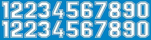 Startnummern Zahlen weiss Start Numbers white 14 mm 1:24 Decal Abziehbild 31-3