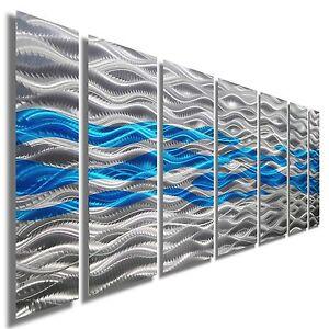 Modern-Metal-Abstract-Wall-Art-Home-Decor-Sculpture-Caliente-Aqua-by-Jon-Allen