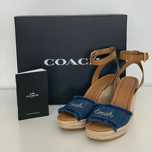 NEW-COACH-KELLEY-DENIM-BLUE-SADDLE-WEDGES-PLATFORM-SHOES-SANDALS-6-5-37-228
