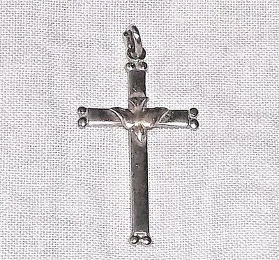 VINTAGE Sterling Silver MINIATURE CROSS w/ Descending Dove of the Holy Spirit