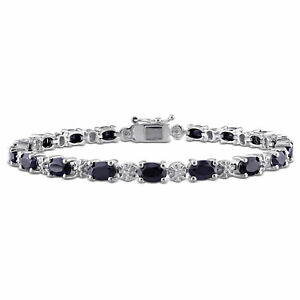 Diamond & Black Sapphire Bracelet Silver I3 Length (inches): 7.25