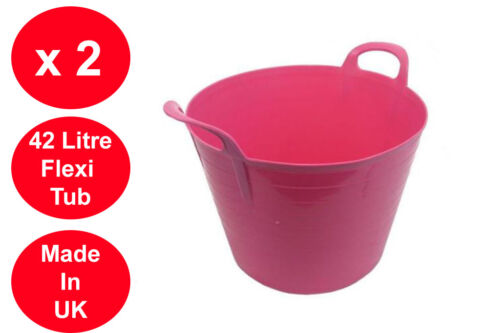 2 X 42 LITRE FLEXI TUB LARGE GARDEN CONTAINER FLEXIBLE STORAGE BUCKET PINK