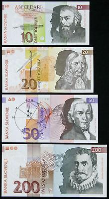 Slovenia 10 20 100 Tolarjev 1992-2003 Set of 4 Banknotes 4 PCS UNC 50