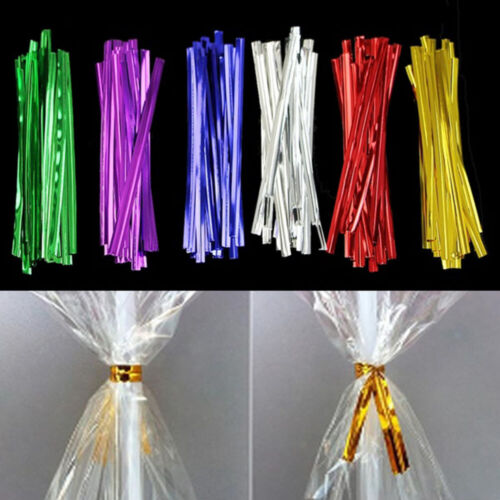 800X MetallicTwist Ties Wire For Cake Pops Gift Candy Sealing Cello Bags Pack ~