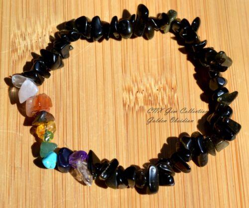 Gemstone Crystal ChipStone Golden Black Obsidian Strechy Chakra Bracelet Scorpio