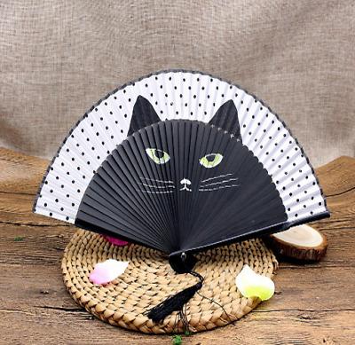 ❤Vintage Japanese Silk Hand Fan Cartoon Cat Painted Folding Fan Craft Gift