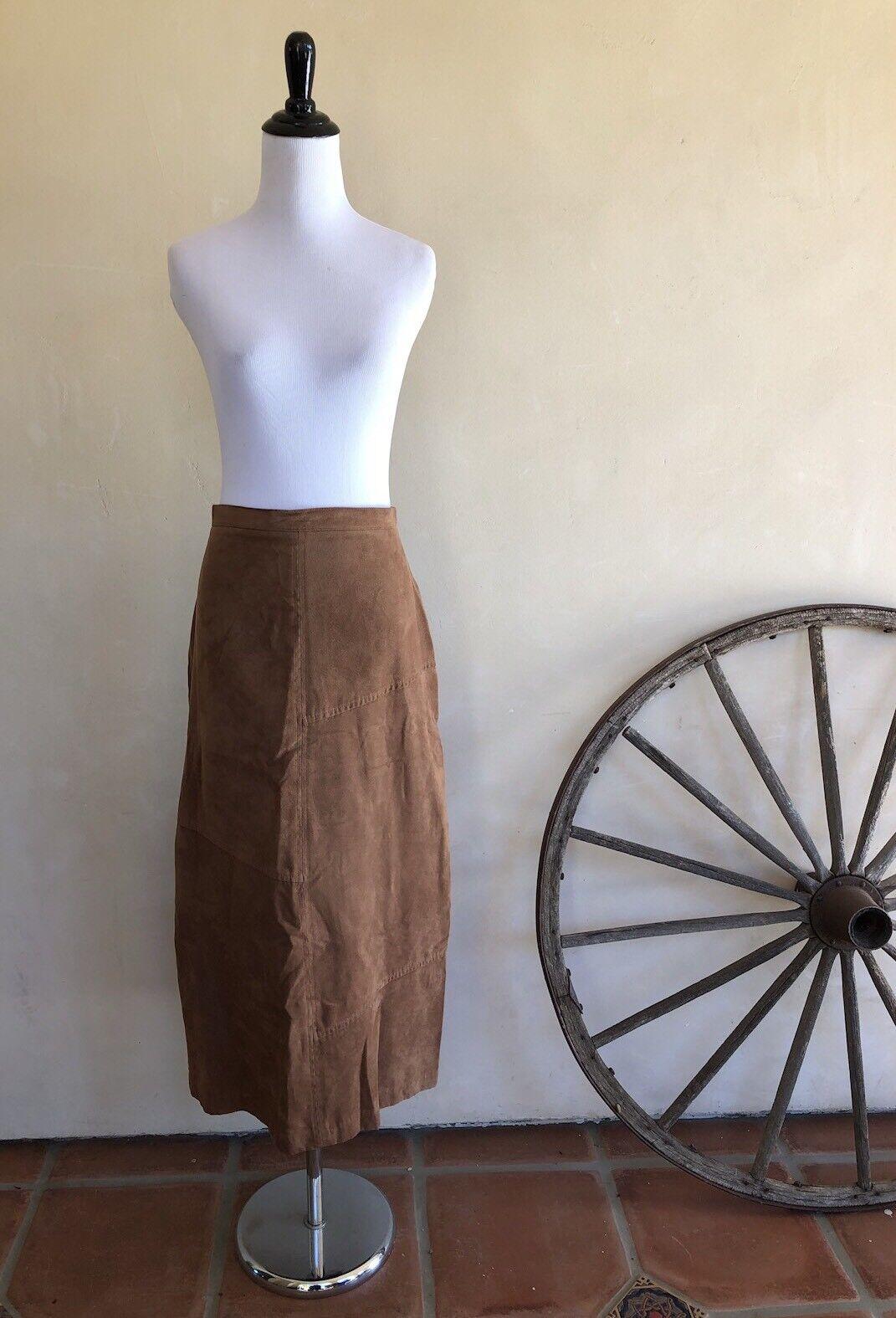 NAPA VALLEY Camel Vegan Suede Mid-Calf Legnth Skirt Rare Plus Sz 14 Petite NWOT