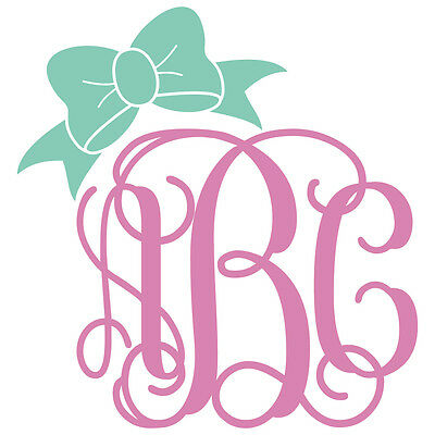 Two Color Vine Monogram w// Bow Decal Sticker TONS OF OPTIONS