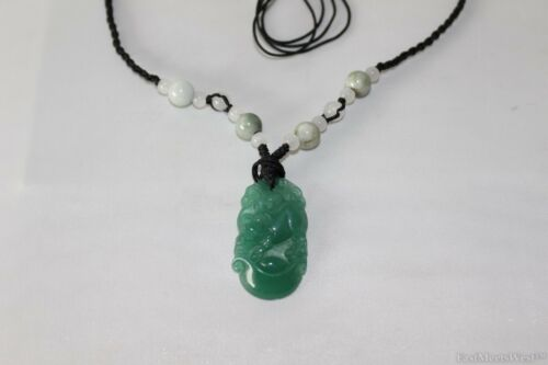 Natural Jade Stone Hand Carved Ox Cow Zodiac Pendant Lucky Feng Shui Necklace
