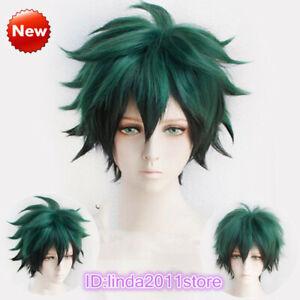Details About My Hero Academia Izuku Midoriya Deku Short Green Black Mix Cosplay Hair Wig
